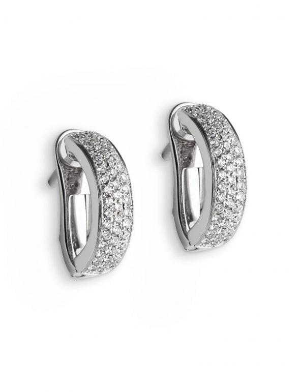pendientes criollas oro blanco y diamantes