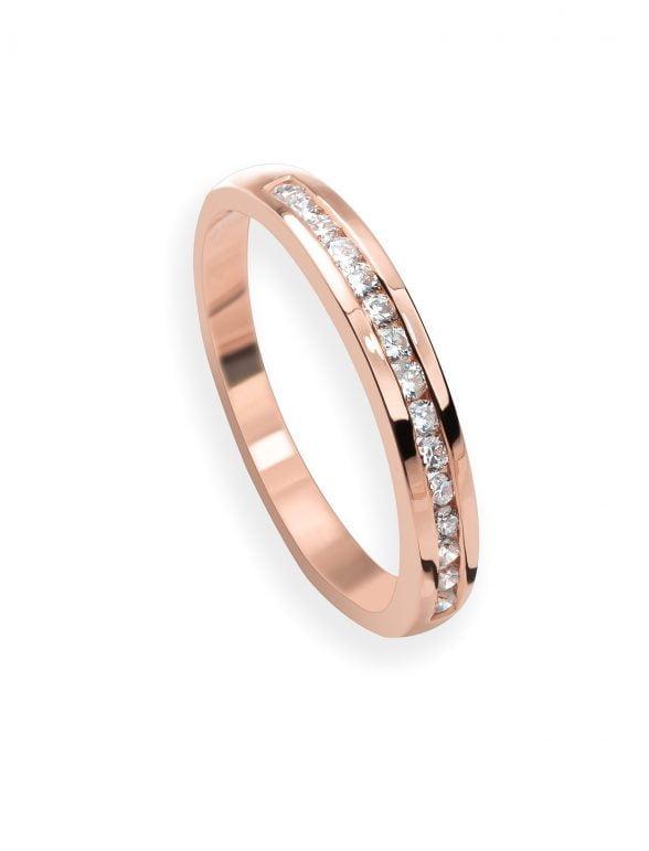 anillo cintillo oro rosa y diamantes