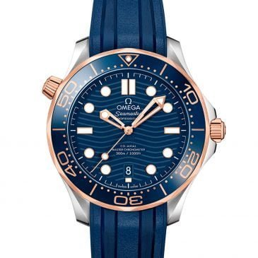 omega seamaster diver 300m 42 acero/oro sedna esfera azul y pulsera de caucho