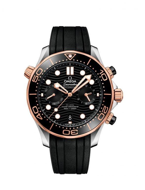 omega seamaster diver 300m 44mm negro chronograph acero y oro sedna caucho