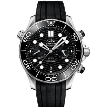 omega seamaster diver 300m 44mm negro chronograph acero caucho