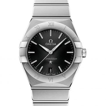 omega constellation quartz 36 mm esfera negra