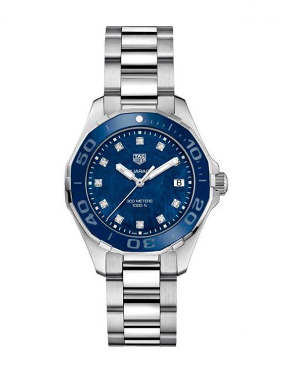 tag Heuer Aquaracer 35 stahl perlmutt blau diamanten