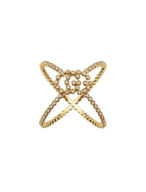 gucci anillo en forma de x gg running con 88 diamantes
