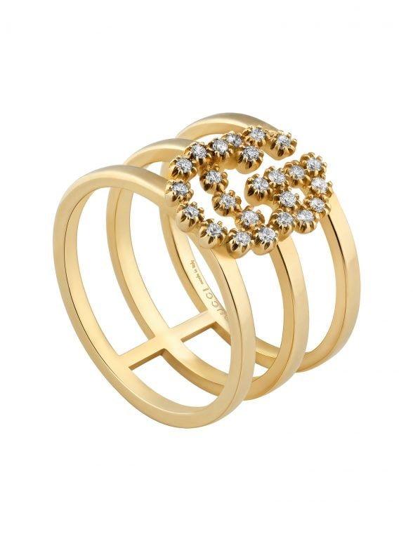 gucci anillo tres bandas gg de oro amarillo con diamantes