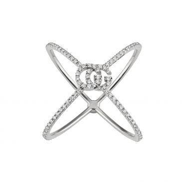 anillo gucci gg running oro blanco y diamantes