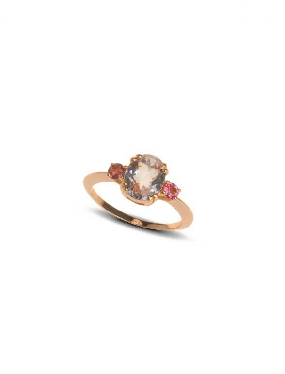 sortija joyería marcos oro rosa con morganita y turmalina