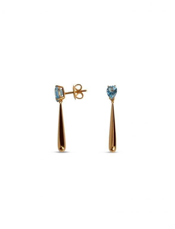 pendientes joyería marcos en oro rosa con topacio azul suizo