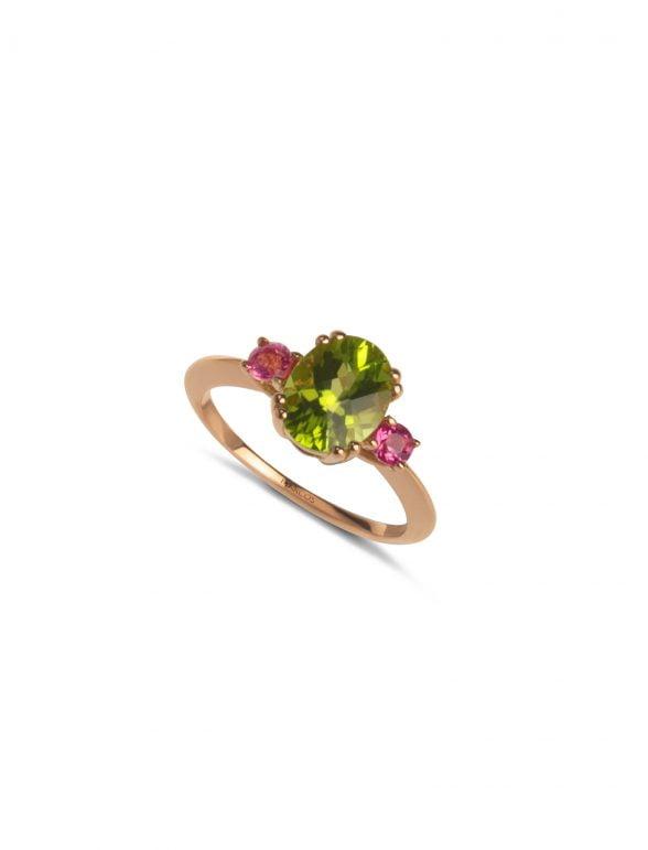 sortija joyería marcos oro rosa con peridoto oval y turmalina