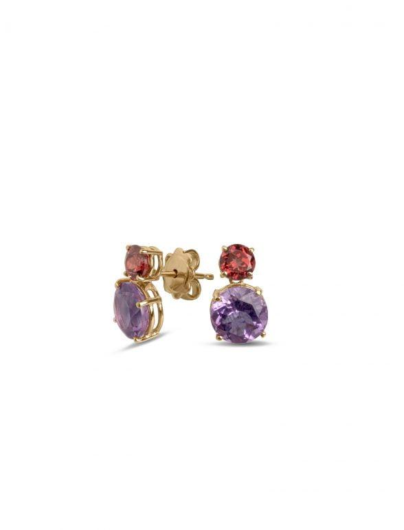 pendientes joyería marcos en oro rosa con amatista y rodolita
