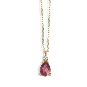 collar joyería marcos en oro rosa con brillante y tormalina