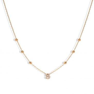 collar joyería marcos en oro rosa con 11 brillantes hvs 0,03 cts